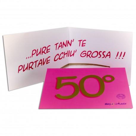 BIGLIETTO AUGURI 50 ANNI ROSA
